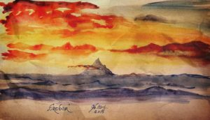 Erebor in watercolor by Miruna-Lavinia